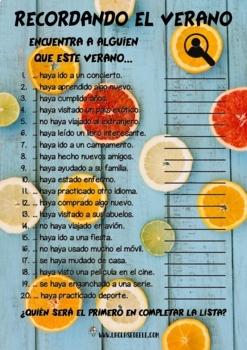"""12 VERSIONES """"FIND SOMEONE WHO"""" PARA LA CLASE DE ESPAÑOL"""