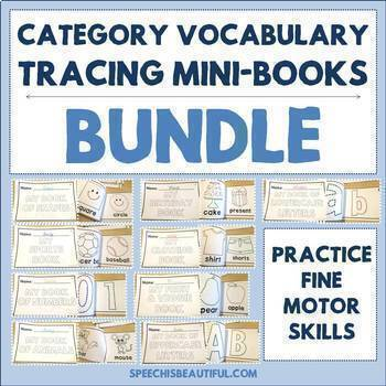 9 Category Vocabulary Tracing Mini-Book BUNDLE