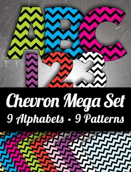 9 Chevron Alphabets - 9 Pattern Sheets -  9 Colors – Mega Set With Latin Letters