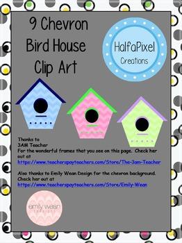 9 Chevron Bird House Clip Art