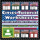 40 Civics Tutorial Worksheet COMPLETE Bundle- EOC Review!