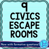 9 Civics and Government Escape Rooms BUNDLE: 9 No Prep Activities!