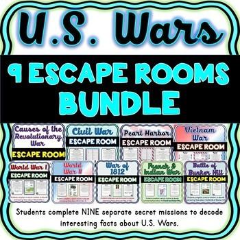 9 U.S. Wars Escape Rooms BUNDLE: 9 No Prep Activities! World Wars, Civil War