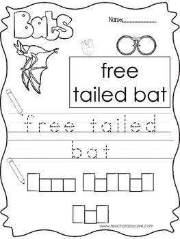 9 Color, Read, Trace, and Box Write Bats Worksheets. Preschool-KD