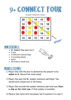 9+ Connect Four Addition Game