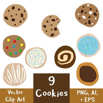 9 Cookies Vector Clipart | Food, Dessert, Chocolate Chip, Sugar Cookie, Baking