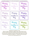 9 Cool Colors Happy Mother's Day Captions Fabric Font Printable Sheet