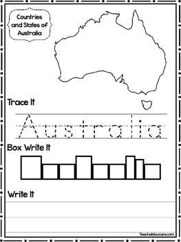 9 Countries and States of Australia and Oceania Worksheets