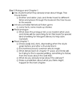 9 Day Book Unit Plans for MTH Civil War on Sunday