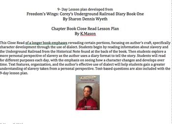 "9-Day Close Read Lesson plan of chapter book ""Freedom's Wings Book One"""