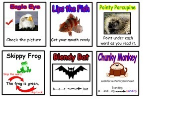 9 Emergent Readers Reading Strategies Word Attack Posters and Bookmark and Cards