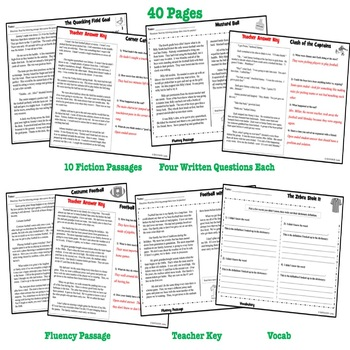 9 Football Reading Comprehension Passages and Questions: Spring Fun Fiction