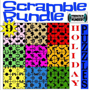 9 HOLIDAY 3x3 SCRAMBLE Puzzles for Early Finishers BUNDLE