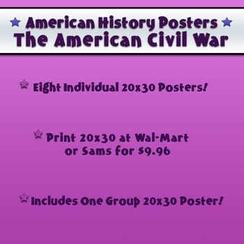 "9 High Resolution 20x30"" Civil War Posters American History FREE TODAY ONLY!"