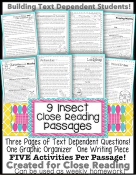 9 Insect Passages for Close Reading, Assessments, Homework with Text Evidence