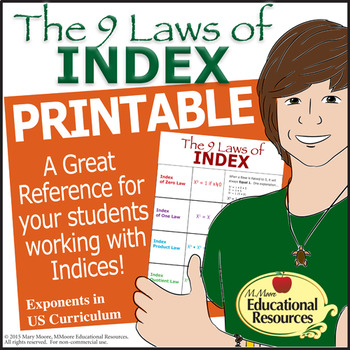 Laws of INDEX - INDICES - PRINTABLE - A reference handout