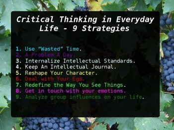 9 Learning Strategies & Making Critical Thinking Intuitive College Presentation