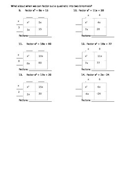 9 Lesson- Factoring is the Reverse of Multiplication HW