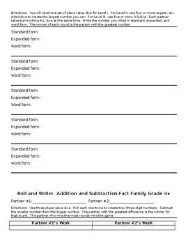 9 Leveled Partner Dice Games for ALL Fourth Grade NBT Standards