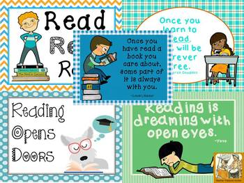 9 Literacy themed posters ~decorations ~ quotes about reading