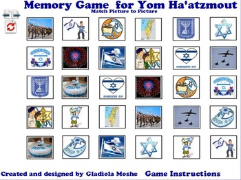 9 Memory Game for Yom Hatzmaout photo to photo English