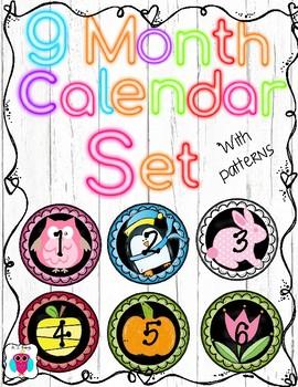 9 Month Calendar Set