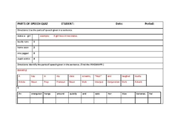 9 PARTS OF SPEECH CHART, SONG, QUIZ WITH ANSWER KEY