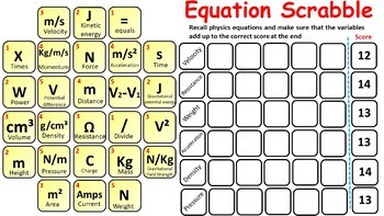 9 Physics (Science) Equation Scrabble Games