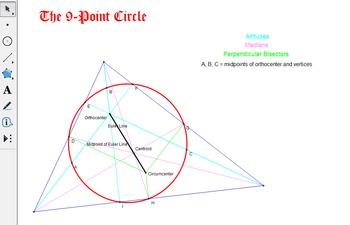 9 Point Circle via Geometer's Sketchpad