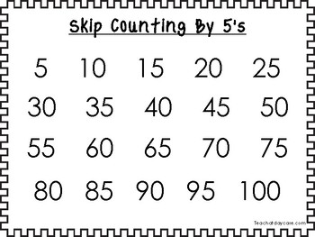 9 Printable Black Border Skip Counting 2's through 10's Wall Chart Posters.