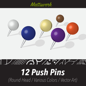 9 Push Pins (Vector Art) Various Colors