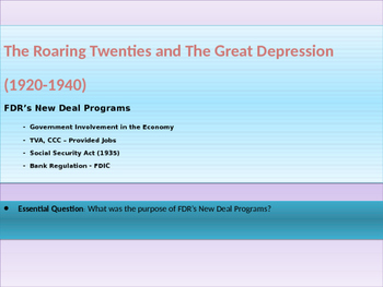 9. Roaring Twenties and Great Depression - Lesson 5 of 6 - New Deal