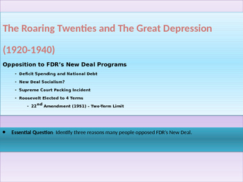 9. Roaring Twenties and Great Depression - Lesson 6 of 6 Reaction to New Deal