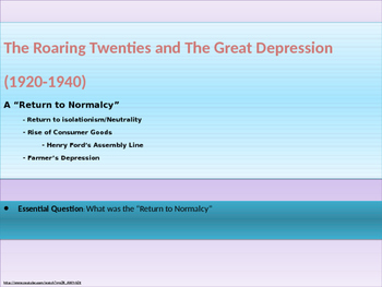 9. Roaring Twenties and Great Depression - Unit Presentation