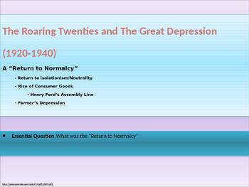 9. Roaring Twenties and Great Depression - Unit Presentation
