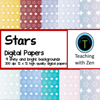 9 Shiny Star pattern digital papers Christmas Winter Holiday