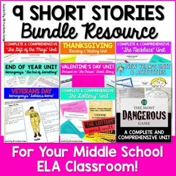 Short Story Unit - 9 Short Stories Bundle for Middle School ELA