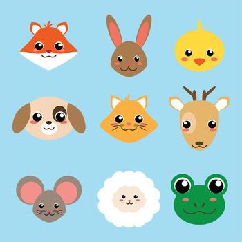 9 Cute Animal Faces Vector Clip Art   Dog, Cat, Rabbit   PNG, AI, + EPS