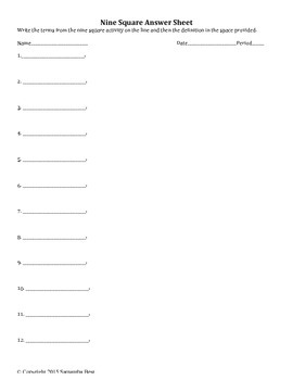 9 Square Answer Sheet for Vocabulary Review