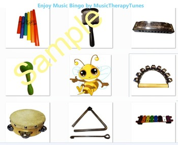 Bingo / Hangman Game w Classroom music instruments WITH 8 MP3 recordings!
