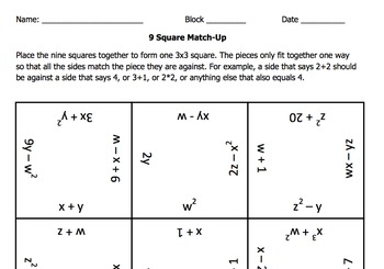 9 Square Match Up: Simplifying Expressions