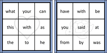 9 Square Sight Word Bingo - First 100 words