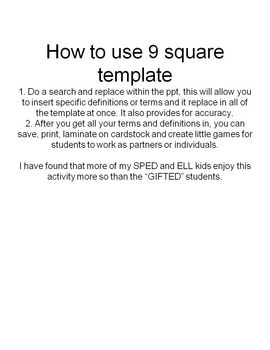 9 Square Term Puzzle Template