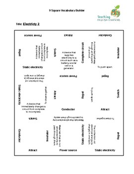 9 Square Vocabulary Activity - Electricity