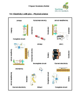 9 Square Vocabulary Activity - Electricity with pictures