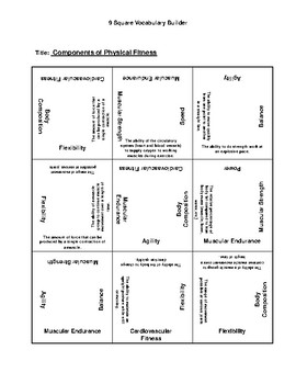 9 Square forComponents of Physical Fitness
