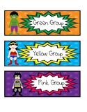 9 Superhero Color Bin/Group Labels