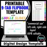 9-Tab Flip Booklet Design Template | Google Slides™ For Printing |Commercial Use