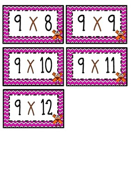 """9"" Times Table Flash Cards"