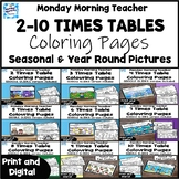 BUNDLE! 2-10 Times Table Multiplication Coloring Pages + D